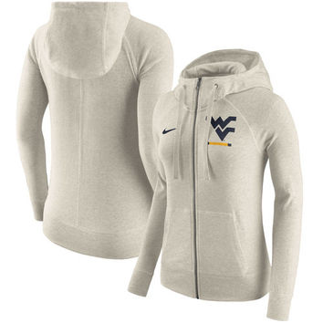Women's Nike Cream West Virginia Mountaineers Gym Vintage Full-Zip Hoodie