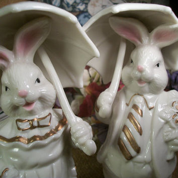 White Porcelain Bunny Rabbits Strolling with Parasols Courting Bunnies Romantic Victorian Cottage Chic Vintage Easter Figurines Home Decor