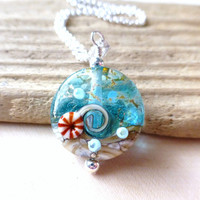 Ocean Wave Necklace, Nautical Wave Lampwork Pendant Necklace, Ocean Blue Waters Lentil Bead, Lampwork Necklace, Beach Fashion