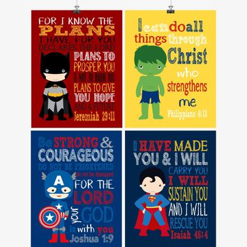 Superhero Christian Nursery Set of 4 Prints Featuring Batman, Captain America, Superman and Hulk