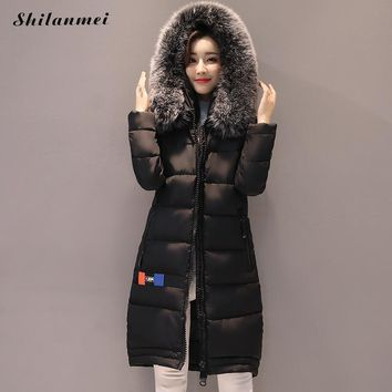 Fashion winter jacket women fur collar hooded long coat parkas blouson femme hiver letter printed overcoat manteau femme hiver