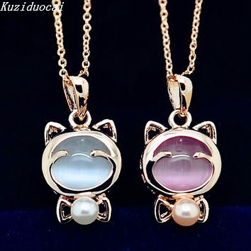 Gold Tone Cat Shaped Pink or White Opal Pendant Necklace