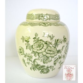 Vintage Green Transferware Floral Chinoiserie Ginger Jar / Cookie Jar Crown Devon Pair Available