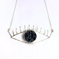 Big Blue Eye Necklace- Sterling Silver and Blue Drusy Handmade Eye Necklace