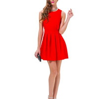Casual Red Cut Out Back Pleated Mini Dress