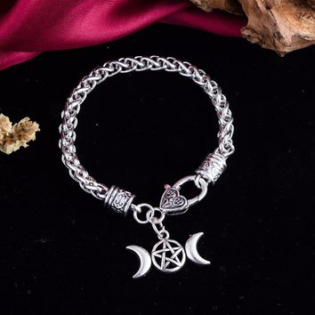 Triple Moon Goddess Pendant Charm Bracelet Pentagram Pentacle Protection Bracelet