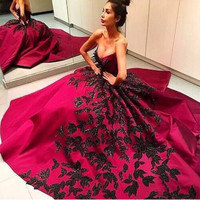 vestido de quinceanera Ball Gown Sweetheart Prom Dress Sleeveless Appliques Beaded Purple dress Prom Dresses vestidos de renda