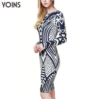 2016 YOINS New Arrival Fashion Women Sexy Midi V Back Long Sleeve Knee Length Geometrical Printing Pencil Dress Vestidos
