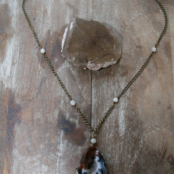 Pre holiday SALE Joy  //  druzy agate and moonstone  layering necklace // spirittribe, statement, holiday, boho, bohemian