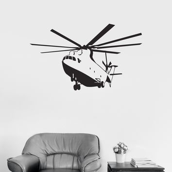 Vinyl Decal Helicopter Military Aircraft War Boys Kids Room Wall Stickers Unique Gift (ig2666)