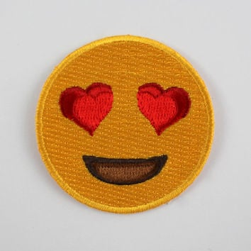 Heart Eyes Emoji Embroidered Patch / Iron-On Applique – Love!