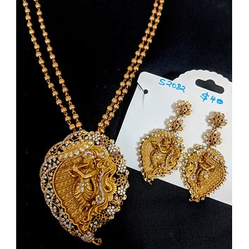 Lord Krishna Pendant chain necklace and Earring set