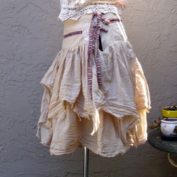Funky Tattered Pixie Skirt Eco Fashion Ecru Cotton Skirt