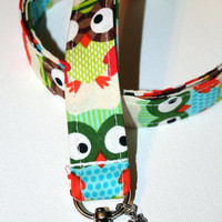 Fabric Lanyard / ID Holder with owl charm / OWL  Natural with charm