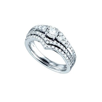 14kt White Gold Womens Round Diamond Chevron Bridal Wedding Engagement Ring Band Set 1.00 Cttw