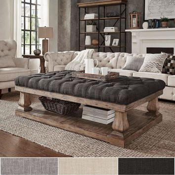 Knightsbridge Tufted Linen Baluster 60-inch Cocktail Ottoman