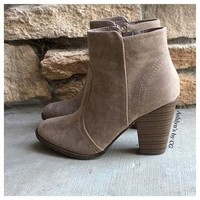 """Style and Flare"" Always Faithful Beige Heel Bootie Boots"