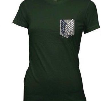 Attack on Titan Survey Corps Wings Logo Licensed Women's Junior T-Shirt