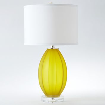 Fluted Frosted Glass Contemporary Yellow Accent Lamp by Global Views