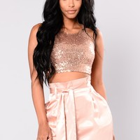 Aimiee Sequin Top - Rose Gold