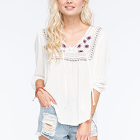 Full Tilt Embroidered Womens Peasant Top Cream  In Sizes