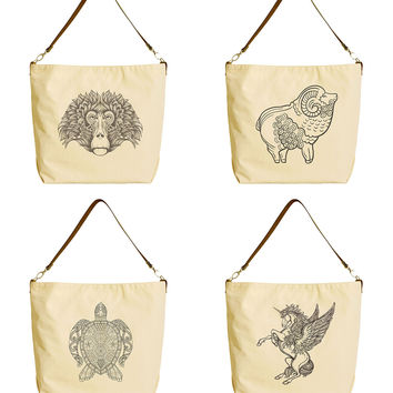 Ornate Doodle Beige Printed Canvas Tote Bag with Leather Strap WAS_29