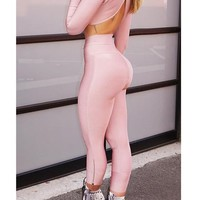 Pink Zipper High Waisted Casual Slim Long Pants