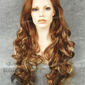 """26"""" Heat Safe Synthetic Lace Front in Curly Texture """"Calypso"""" in Reddish Brown/Blonde Mix"""