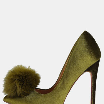 Pointy Toe Stiletto Pom Pom Heels OLIVE | MakeMeChic.COM