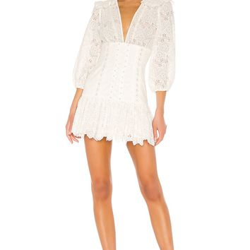 White Lace Corset Puff Sleeve Mini Dress