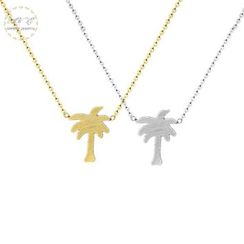 Gold Color Tropical Palm Tree Necklace Women Beach Jewelry Stainless Steel Chain Plant Charm Pendant Best Friend Gift 2018