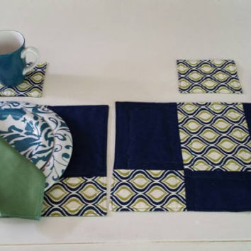 quilted placemats handmade, homemade placemats, set of 2, with 2 napkins, and 2coasters, table decor