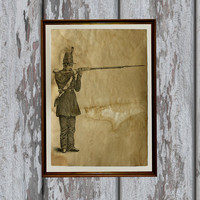 Rifleman art print Antique paper vintage style old looking