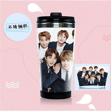 New kpop BTS Bangtan Boys The Same easy to carry drinkware Stainless steel double layer image coffee mug tea cup