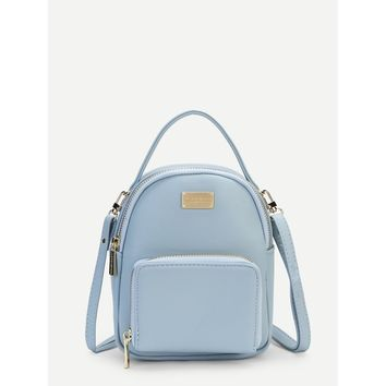 Blue Pocket Front Pu Backpack