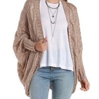 Taupe Cable Knit Cocoon Cardigan Sweater by Charlotte Russe