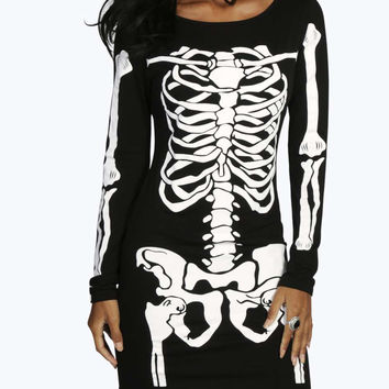 Black Skeleton Print Long Sleeve Mini Dress