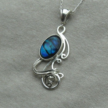 Blue Paua Shell Necklace - Pendant - Abalone - Wire Wrapped in Sterling Silver