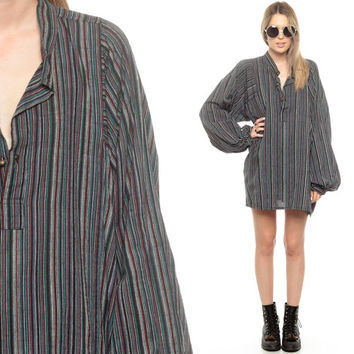 Cotton Shirt Striped Long Tunic Top Blouse Long Sleeve Boho 70s Hippie Shirt Boho Top 1970s Bohemian Blue Balloon Sleeve Small Medium