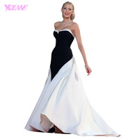 Blake Lively Red Carpet Celebrity Dresses Formal Black And White Stain Split Sweetheart Sweep Train Prom Dress Custom Made