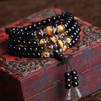 Buddhist Black Glaze 108 Prayer Beads Mala Bracelet Necklace