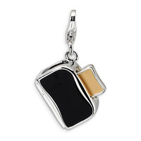 Sterling Silver 3-D Enameled Toaster with Toast w/Lobster Clasp Charm QCC274
