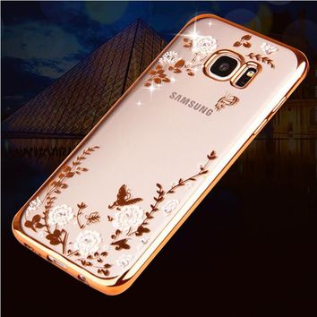 Luxury Rhinestones Soft TPU Cases For Samsung Galaxy J5 2016 Case A5 A7 2017 Glitter Flower Case for Samsung Galaxy S6 S7 edge