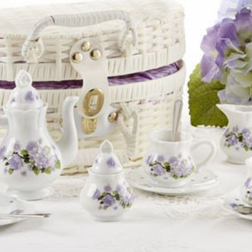 Children's Porcelain Tea Set in Wicker Style Basket - Purple Glory