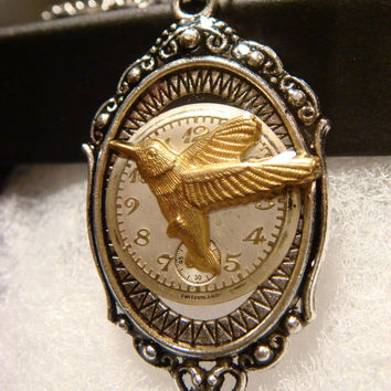 Victoran Style Watch Face with Hummingbird Pendant Necklace  - Upcycled Jewelry  (1924)