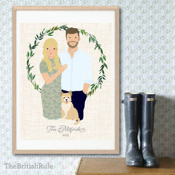 Custom Portrait Custom Couple Portrait, personalized digital illustration Wreath plus FREE card Wedding Engagement Holiday Save the Date