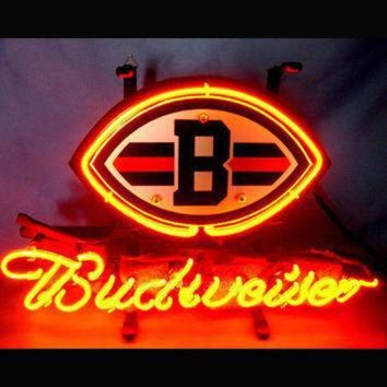 PEAPYD9 NFL CLEVELAND BROWNS BUDWEISER Beer Bar Neon Light Sig Nikee Rochee Neon Sign Nbaa Jer