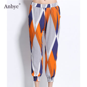 Anbyc 2017 spring and summer new Europe and the United States printing casual pants nine points lantern pants plus size