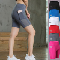 Women's Yoga shorts, side pockets, fitness, running, elastic, tight, dry, sweating, five pants.