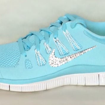 Nike Free Run 5.0 shoes Glacier Ice Night Factor Summit White with  Swarovski crystals cc26576905